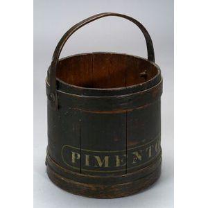 Dark Green Painted Wooden Bucket