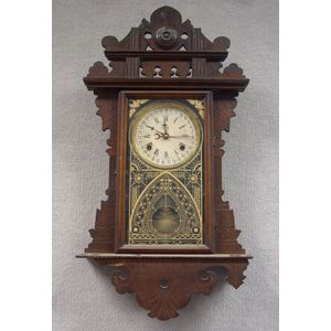 "Waterbury Watch & Clock Co. ""Eclipse"" Walnut Gingerbread Wall Calendar Clock"