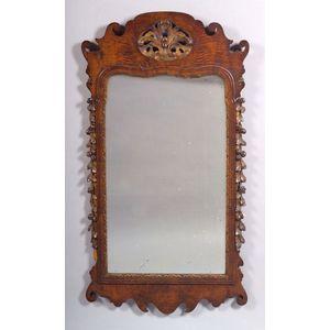 Queen Anne Style Burl Walnut and Parcel Gilt Mirror