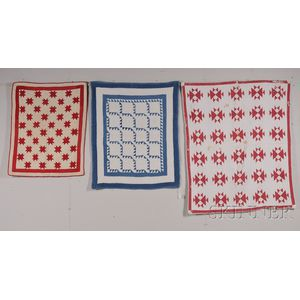 Three Red, White, and Blue Pieced Cotton Crib Quilts