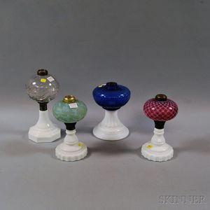 Four Glass Kerosene Lamps
