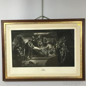 Large Framed William Rice Signing Of The Compact In The Cabin Of The Mayflower   Print