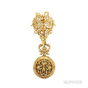 Antique 18kt Gold and Enamel Open-face Pendant Watch, Boucheron