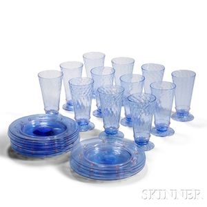 Group of Venetian Crystal Stemware and Glass Plates