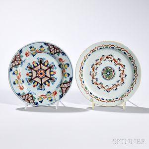 Two Polychrome Decorated Tin-glazed Earthenware Plates