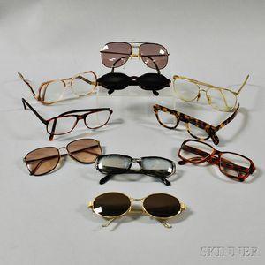 Ten Designer Plastic and Metal Glasses and Sunglasses