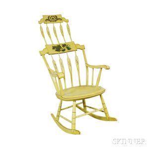 Paint-decorated Arrow-back Armed Rocking Chair