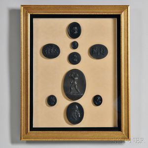 Nine Wedgwood and Related Black Basalt Framed Medallions