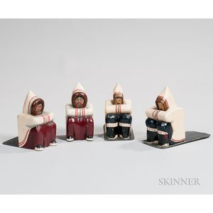Two Pairs of Carved and Painted Eskimo Bookends