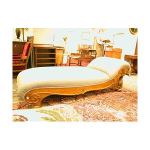 Late Victorian Upholstered Quarter-sawn Oak Chaise.