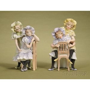 Two German Painted Bisque Porcelain Naughty and Nice Figural Groups