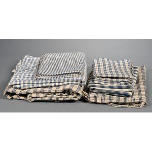 Seven Blue and White Homespun Linen Articles
