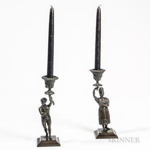 Pair of Bronze Figural Candlesticks