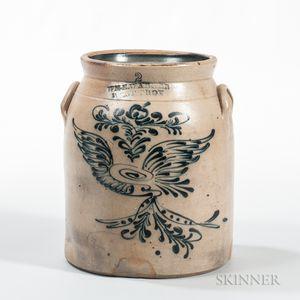 Two-gallon Cobalt-decorated Stoneware Crock