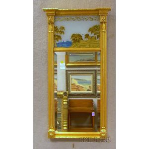 Federal-style Giltwood Tabernacle Mirror with Eglomise Glass Tablet