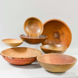 Seven Turned Wood Bowls