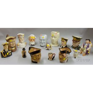 Approximately Thirteen Toby-style Jugs and a Figure