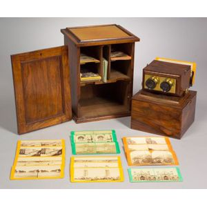Beck Achromatic Stereo Viewer, Cabinet and Cards