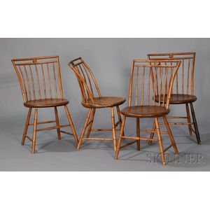 Set of Four Bamboo-turned Windsor Chairs