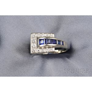 Retro 18kt White Gold, Sapphire, and Diamond Ring, Lebolt & Co.