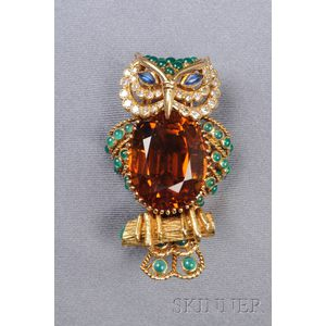 18kt Gold, Citrine, Diamond and Gem-set Owl Brooch, Champagnat, France