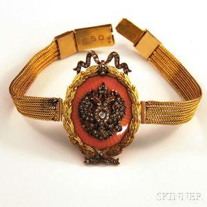 Victorian 14kt Gold, Pink Enamel, and Diamond Bracelet