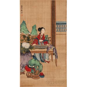 Hanging Scroll Depicting a Girl Playing a Chinese Dulcimer