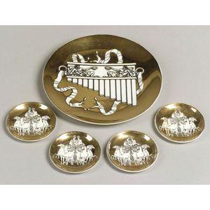 Five Piero Fornasetti Transfer Decorated Porcelain Plates
