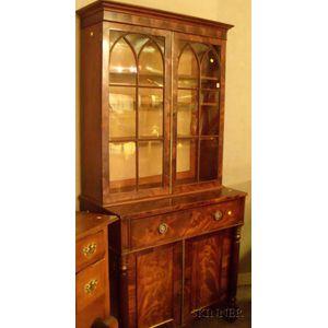 Classical Glazed Mahogany and Mahogany Veneer Two-Part Writing Bureau/Bookcase