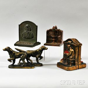 Three Sets of Metal Bookends and Two Cast Brass Dogs
