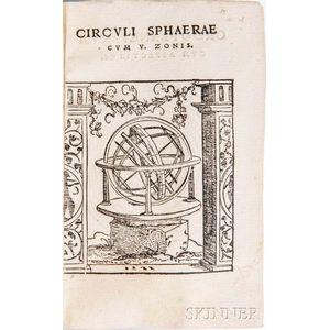 Honter, Johannes (1498-1549) Circuli Sphaerae Cvm V. Zonis.