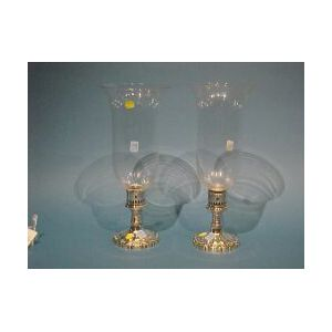 Pair of Sheffield Silver Hurricane Lamps.