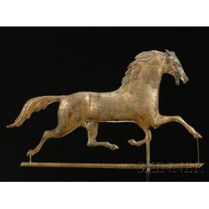 Molded Gilt Copper and Zinc Running Horse Weather Vane