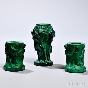 Three Art Deco Green Malachite Bohemian Art Glass Vases
