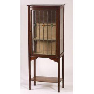 Edwardian Leaded Glass Inlaid Mahogany Bowfront Vitrine.