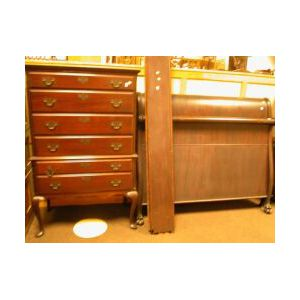 Queen Anne Style Mahogany Highboy and an Empire-style Mahogany Veneer Sleigh Bed