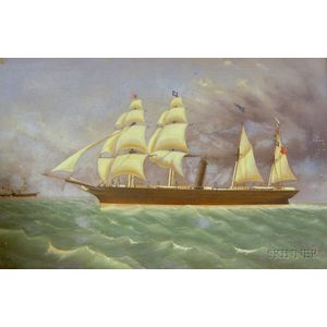 American School, 19th/20th Century   Steam and Sail Vessel.