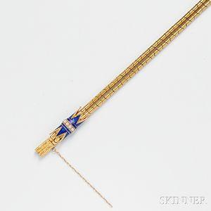 Antique 18kt Gold, Enamel, and Split Pearl Bracelet