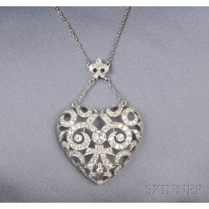 Platinum and Diamond Heart Pendant Necklace