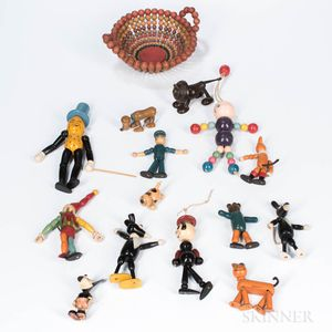 Group of Articulated Wooden Figural Toys and a Bowl of Wooden Beads