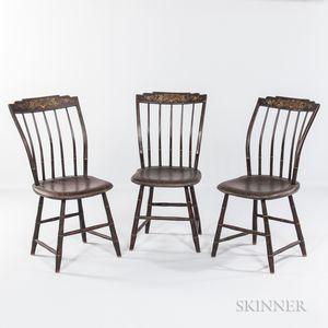 Three Paint-decorated Step-down Windsor Side Chairs