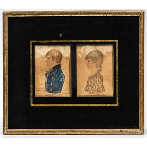 American School, Early 19th Century      Pair of Miniature Portraits of William and Elizabeth Crump