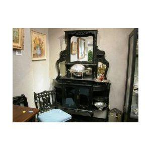 Late Victorian Ebonized Oak Mirrored Etagere.