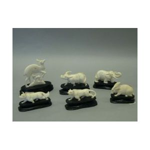 Six Asian Carved Ivory Animal Figures.