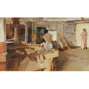Sir William Russell Flint, R.A. (British, 1880-1969)      The Old Mill Studio