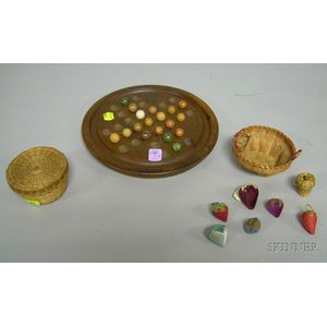 Three Small Basketry Items, an Acorn and Five Cloth Berry Pincushions, Eighteen Clay Marbles, and a Wooden Game...