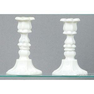 Pair of Milk Glass Petal and Loop Glass Candlesticks