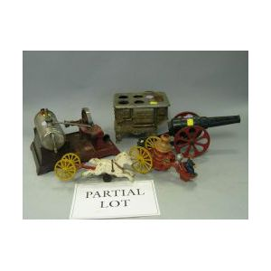 Toy Painted Cast Iron Cannon, Fire Wagon, Two Stoves, Steam Engine and Metal Figures.
