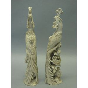 Pair of Asian Carved Ivory Exotic Birds.