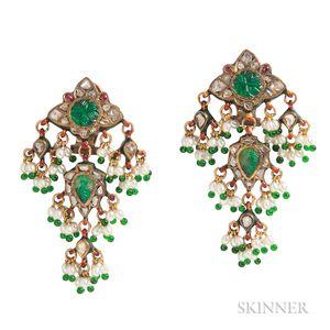 Diamond and Enamel Earrings